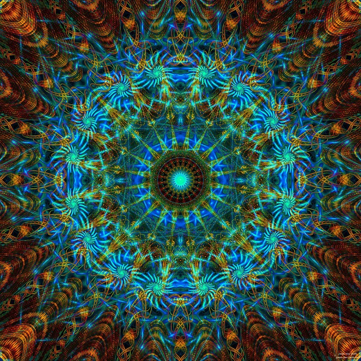 Abstract-blue-gold-mandala by James Alan smith