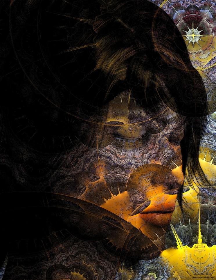 Sunrise fractal girl by James Alan Smith