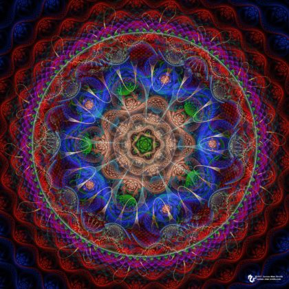 Abstractive mandala on red and blue by James Alan Smith