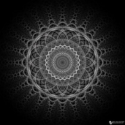 In the Shadows BW Mandala: Artwork by James Alan Smith