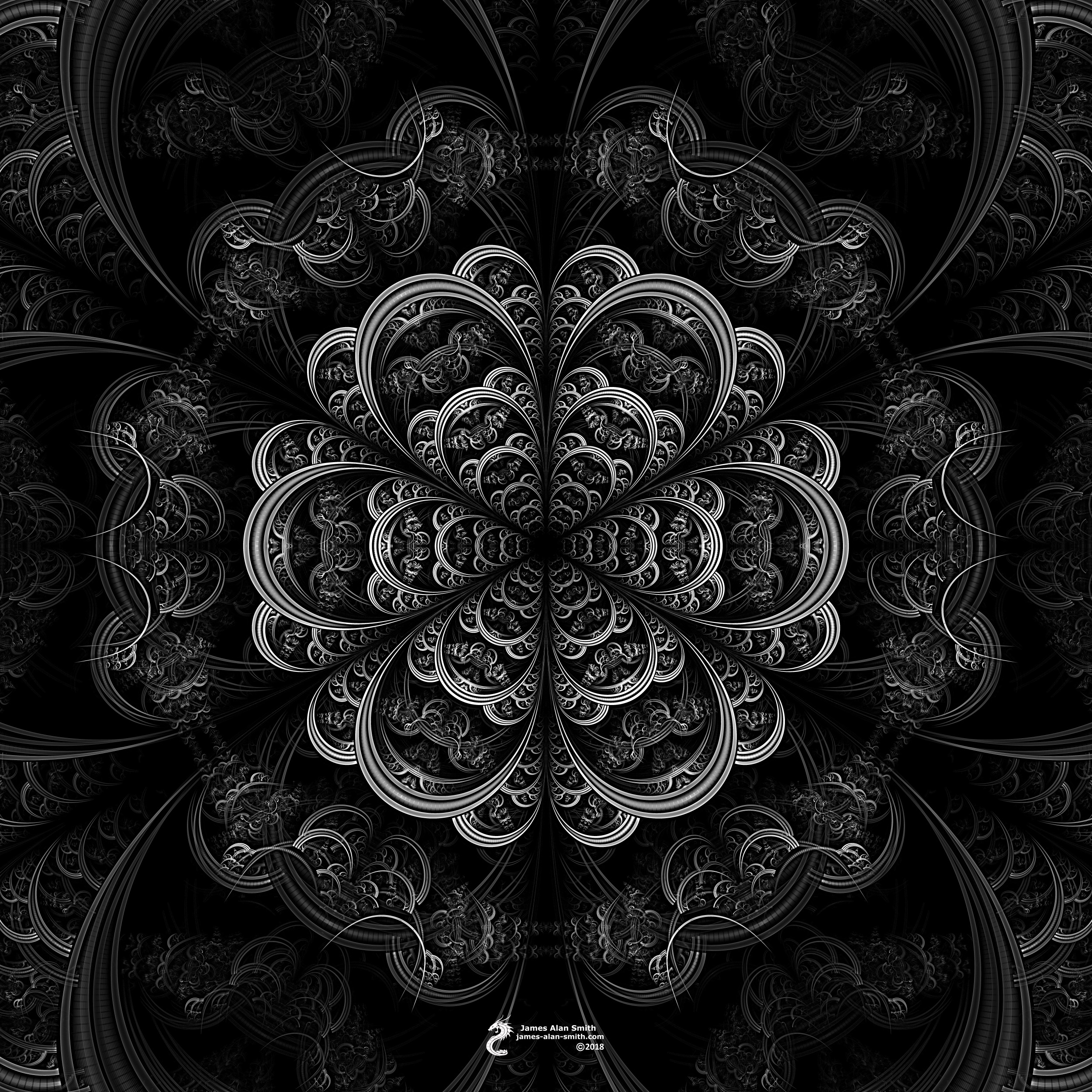 Black And White Mandala By James Alan Smith